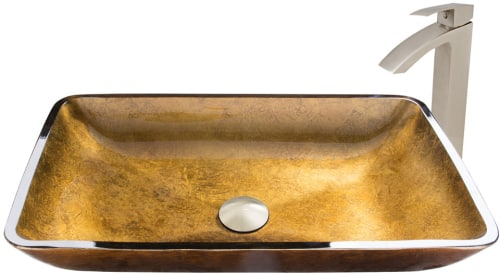 Vigo Industries Vessel Sink Collection VGT51A - Rectangular Copper Glass Vessel Sink and Duris Faucet Set in Brushed Nickel