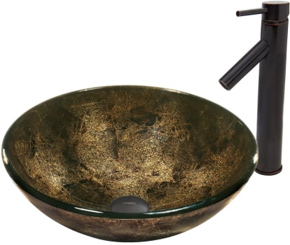Vigo Industries Vessel Sink Collection VGT522 - Sintra Glass Vessel Sink and Dior Faucet Set in Antique Rubbed Bronze