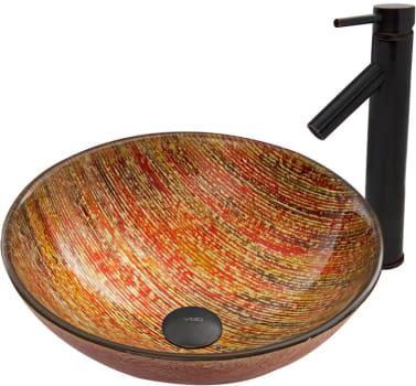 Vigo Industries Vessel Sink Collection VGT534 - Blazing Fire Glass Vessel Sink and Dior Faucet Set in Antique Rubbed Bronze Finish