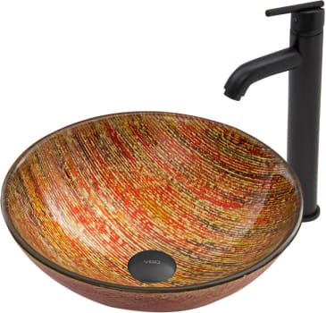 Vigo Industries Vessel Sink Collection VGT538 - Blazing Fire Glass Vessel Sink and Seville Faucet Set in Matte Black Finish