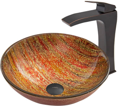 Vigo Industries Vessel Sink Collection VGT54A - Blazing Fire Glass Vessel Sink and Blackstonian Faucet Set in Antique Rubbed Bronze Finish