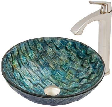 Vigo Industries Vessel Sink Collection VGT549 - Oceania Glass Vessel Sink and Linus Faucet Set in Brushed Nickel Finish