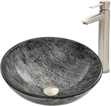 Vigo Industries Vessel Sink Collection VGT557 - Titanium Glass Vessel Sink and Shadow Faucet Set in Brushed Nickel Finish