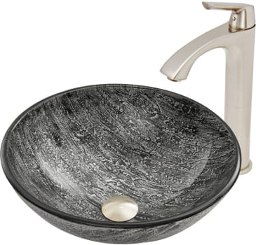 Vigo Industries Vessel Sink Collection VGT559 - Titanium Glass Vessel Sink and Linus Faucet Set in Brushed Nickel Finish