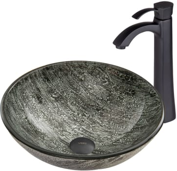 Vigo Industries Vessel Sink Collection VGT56A - Titanium Glass Vessel Sink and Otis Faucet Set in Matte Black Finish