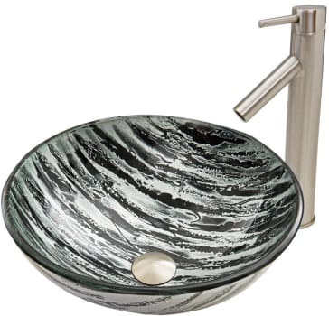 Vigo Industries Vessel Sink Collection VGT586 - Rising Moon Glass Vessel Sink and Dior Faucet Set in Brushed Nickel Finish