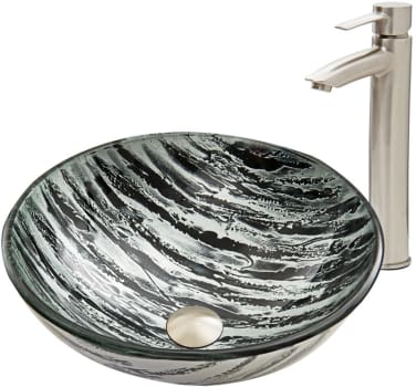 Vigo Industries Vessel Sink Collection VGT589 - Rising Moon Glass Vessel Sink and Shadow Faucet Set in Brushed Nickel Finish