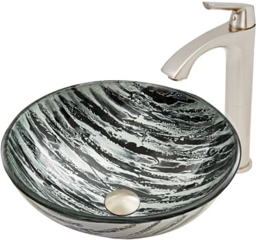 Vigo Industries Vessel Sink Collection VGT591 - Rising Moon Glass Vessel Sink and Linus Faucet Set in Brushed Nickel Finish
