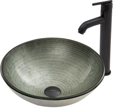 Vigo Industries Vessel Sink Collection VGT606 - Simply Silver Glass Vessel Sink and Seville Faucet Set in Matte Black Finish