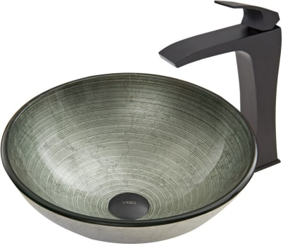 Vigo Industries Vessel Sink Collection VGT609 - Simply Silver Glass Vessel Sink and Blackstonian Faucet Set in Matte Black Finish