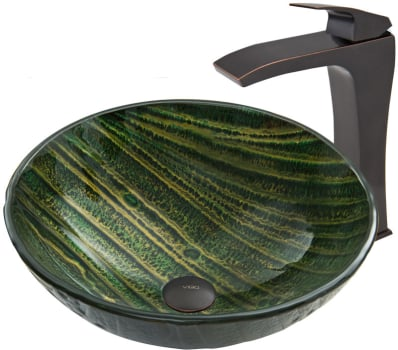 Vigo Industries Vessel Sink Collection VGT638 - Green Asteroid Glass Vessel Sink and Blackstonian Faucet Set in Antique Rubbed Bronze Finish