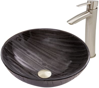 Vigo Industries Vessel Sink Collection VGT684 - Interspace Glass Vessel Sink and Shadow Faucet Set in Brushed Nickel