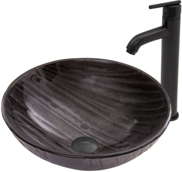 Vigo Industries Vessel Sink Collection VGT685 - Interspace Glass Vessel Sink and Seville Faucet Set in Matte Black