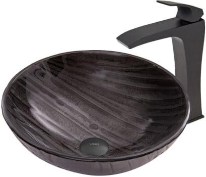 Vigo Industries Vessel Sink Collection VGT687 - Interspace Glass Vessel Sink and Blackstonian Faucet Set in Matte Black