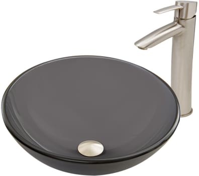 Vigo Industries Vessel Sink Collection VGT726 - Sheer Black Frost Glass Vessel Sink and Shadow Faucet Set in Brushed Nickel Finish