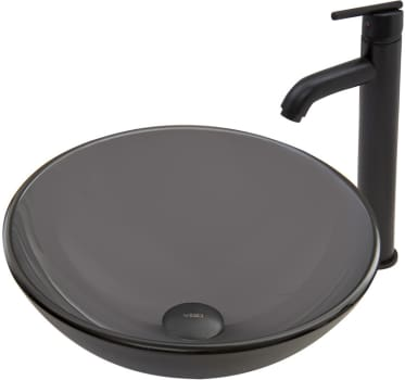 Vigo Industries Vessel Sink Collection VGT727 - Sheer Black Frost Glass Vessel Sink and Seville Faucet Set in Matte Black Finish