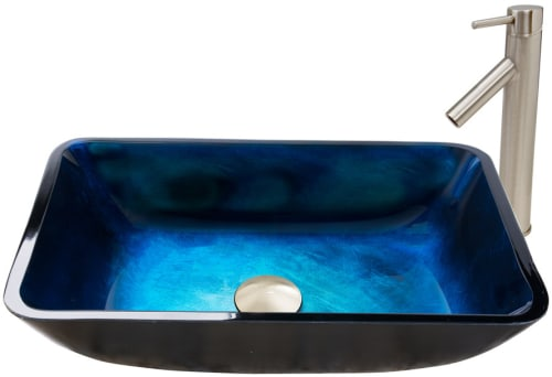 Vigo Industries Vessel Sink Collection VGT794 - Rectangular Turquoise Water Glass Vessel Sink and Dior Faucet Set in Brushed Nickel Finish