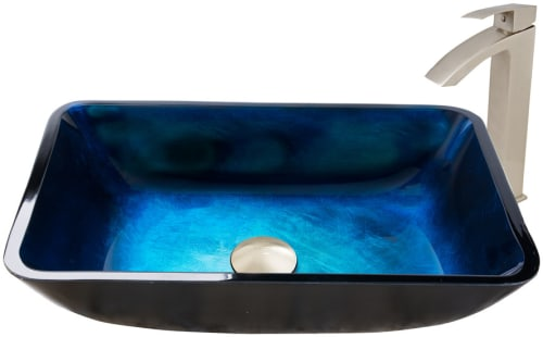 Vigo Industries Vessel Sink Collection VGTRECTRQOIZ - Rectangular Turquoise Water Glass Vessel Sink and Duris Faucet Set in Brushed Nickel Finish