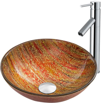 Vigo Industries Vessel Sink Collection VGT818 - Blazing Fire Glass Vessel Sink and Dior Faucet Set in Chrome Finish