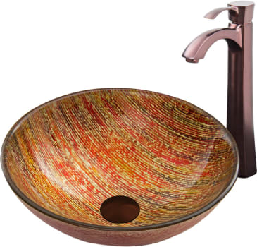 Vigo Industries Vessel Sink Collection VGT820 - Blazing Fire Glass Vessel Sink and Otis Faucet Set in a Oil Rubbed Bronze Finish