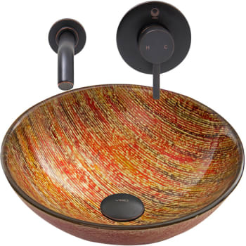 Vigo Industries Vessel Sink Collection VGT821 - Blazing Fire Glass Vessel Sink and Olus Wall Mount Faucet Set in Antique Rubbed Bronze Finish