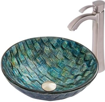 Vigo Industries Vessel Sink Collection VGT823 - Oceania Glass Vessel Sink and Otis Faucet set in Brushed Nickel