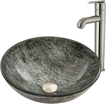 Vigo Industries Vessel Sink Collection VGT827 - Titanium Glass Vessel Sink and Seville Faucet Set in Brushed Nickel