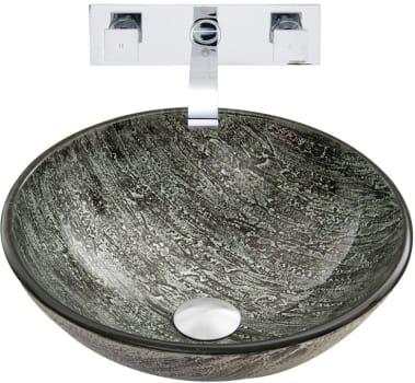 Vigo Industries Vessel Sink Collection VGT829 - Titanium Glass Vessel Sink and Titus Wall Mount Faucet Set in Chrome