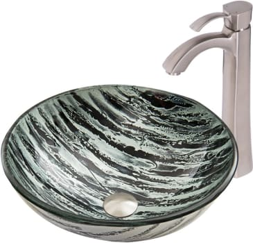 Vigo Industries Vessel Sink Collection VGT832 - Rising Moon Glass Vessel Sink and Otis Faucet Set in Brushed Nickel Finish