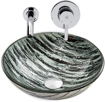 Vigo Industries Vessel Sink Collection VGT833 - Rising Moon Glass Vessel Sink and Olus Wall Mount Faucet Set in Chrome Finish