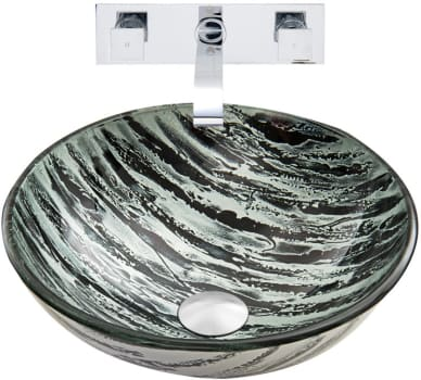 Vigo Industries Vessel Sink Collection VGT834 - Rising Moon Glass Vessel Sink and Titus Wall Mount Faucet Set in Chrome Finish