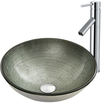 Vigo Industries Vessel Sink Collection VGTSIMPSLVR - Simply Silver Glass Vessel Sink and Dior Faucet Set in Chrome