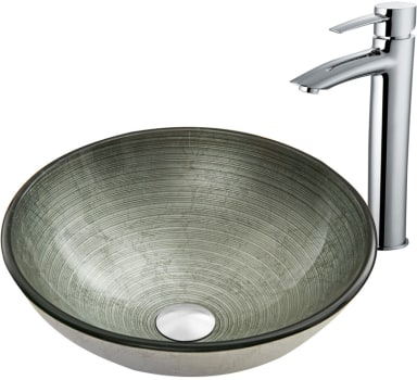 Vigo Industries Vessel Sink Collection VGT837 - Simply Silver Glass Vessel Sink and Shadow Faucet Set in Chrome