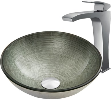 Vigo Industries Vessel Sink Collection VGT840 - Simply Silver Glass Vessel Sink and Blackstonian Faucet Set in Chrome
