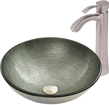 Vigo Industries Vessel Sink Collection VGT841 - Simply Silver Glass Vessel Sink and Otis Faucet Set in Brushed Nickel
