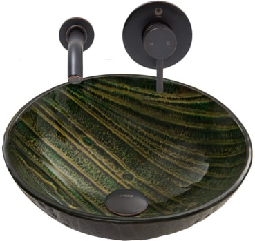 Vigo Industries Vessel Sink Collection VGT845 - Green Asteroid Glass Vessel Sink and Olus Wall Mount Faucet Set in Antique Rubbed Bronze Finish