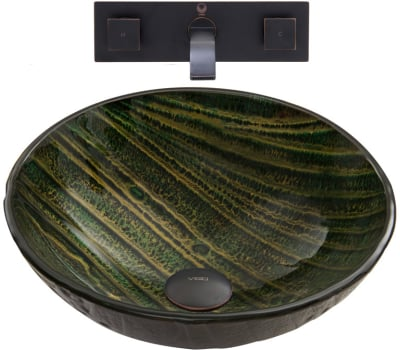 Vigo Industries Vessel Sink Collection VGT846 - Green Asteroid Glass Vessel Sink and Titus Wall Mount Faucet Set in Antique Rubbed Bronze Finish