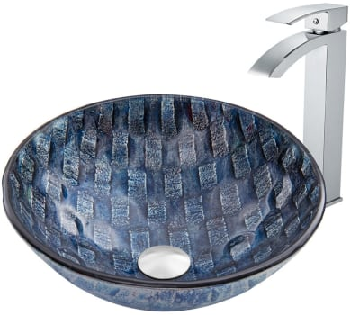Vigo Industries Vessel Sink Collection VGT847 - Rio Glass Vessel Sink and Duris Faucet Set in Chrome