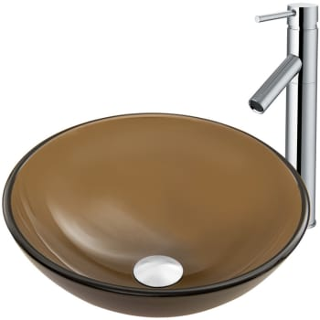 Vigo Industries Vessel Sink Collection VGT863 - Sheer Sepia Frost Glass Vessel Sink and Dior Faucet Set in Chrome Finish