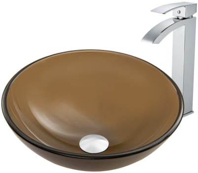 Vigo Industries Vessel Sink Collection VGT864 - Sheer Sepia Frost Glass Vessel Sink and Duris Faucet Set in Chrome Finish