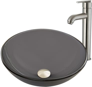 Vigo Industries Vessel Sink Collection VGT868 - Sheer Black Frost Glass Vessel Sink and Seville Faucet Set in Brushed Nickel Finish