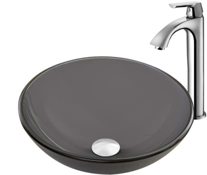 Vigo Industries Vessel Sink Collection VGT869 - Sheer Black Frost Glass Vessel Sink and Linus Faucet Set in a Chrome Finish