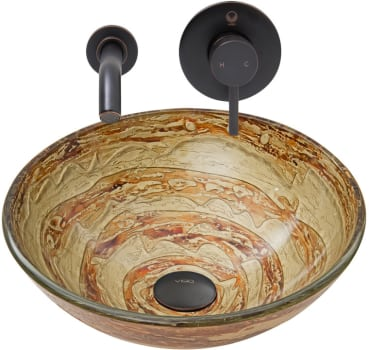 Vigo Industries Vessel Sink Collection VGT874 - Mocha Swirl Glass Vessel Sink and Olus Wall Mount Faucet Set in Antique Rubbed Bronze