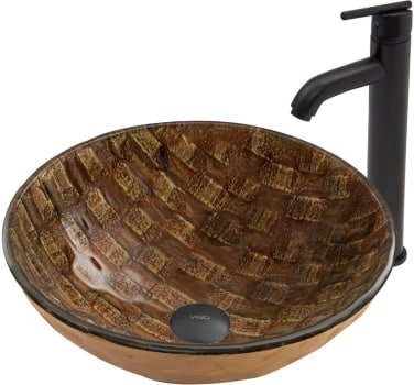 Vigo Industries Vessel Sink Collection VGTPLAYA - Playa Glass Vessel Sink and Seville Faucet Set in Matte Black Finish