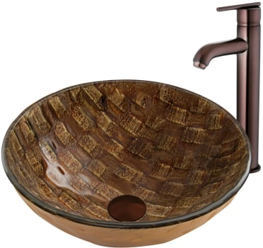 Vigo Industries Vessel Sink Collection VGT877 - Playa Glass Vessel Sink and Seville Faucet Set in Oil Rubbed Bronze Finish