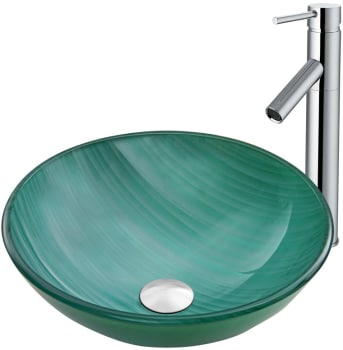 Vigo Industries Vessel Sink Collection VGT881 - Whispering Wind Glass Vessel Sink and Dior Faucet Set in Chrome
