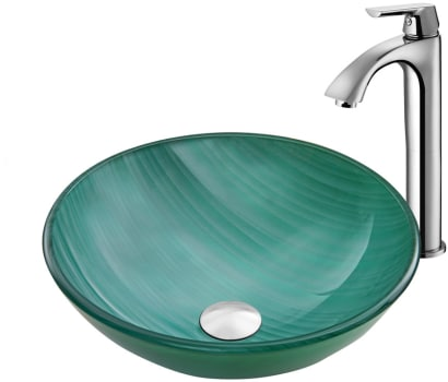 Vigo Industries Vessel Sink Collection VGT882 - Whispering Wind Glass Vessel Sink and Linus Faucet Set in Chrome