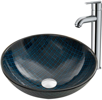Vigo Industries Vessel Sink Collection VGT884 - Blue Matrix Glass Vessel Sink and Seville Faucet Set in Chrome
