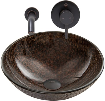 Vigo Industries Vessel Sink Collection VGT887 - Copper Shield Glass Vessel Sink and Olus Wall Mount Faucet Set in Antique Rubbed Bronze Finish