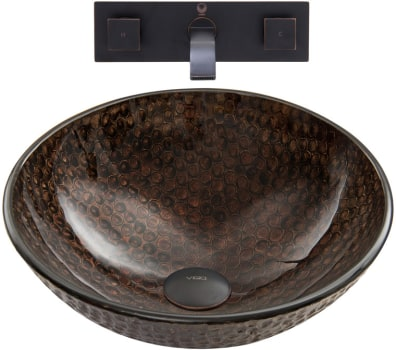 Vigo Industries Vessel Sink Collection VGT888 - Copper Shield Glass Vessel Sink and Olus Wall Mount Faucet Set in Antique Rubbed Bronze Finish
